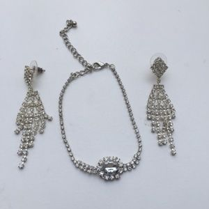 Rhinestone Bracelet & Dangle Earrings Set